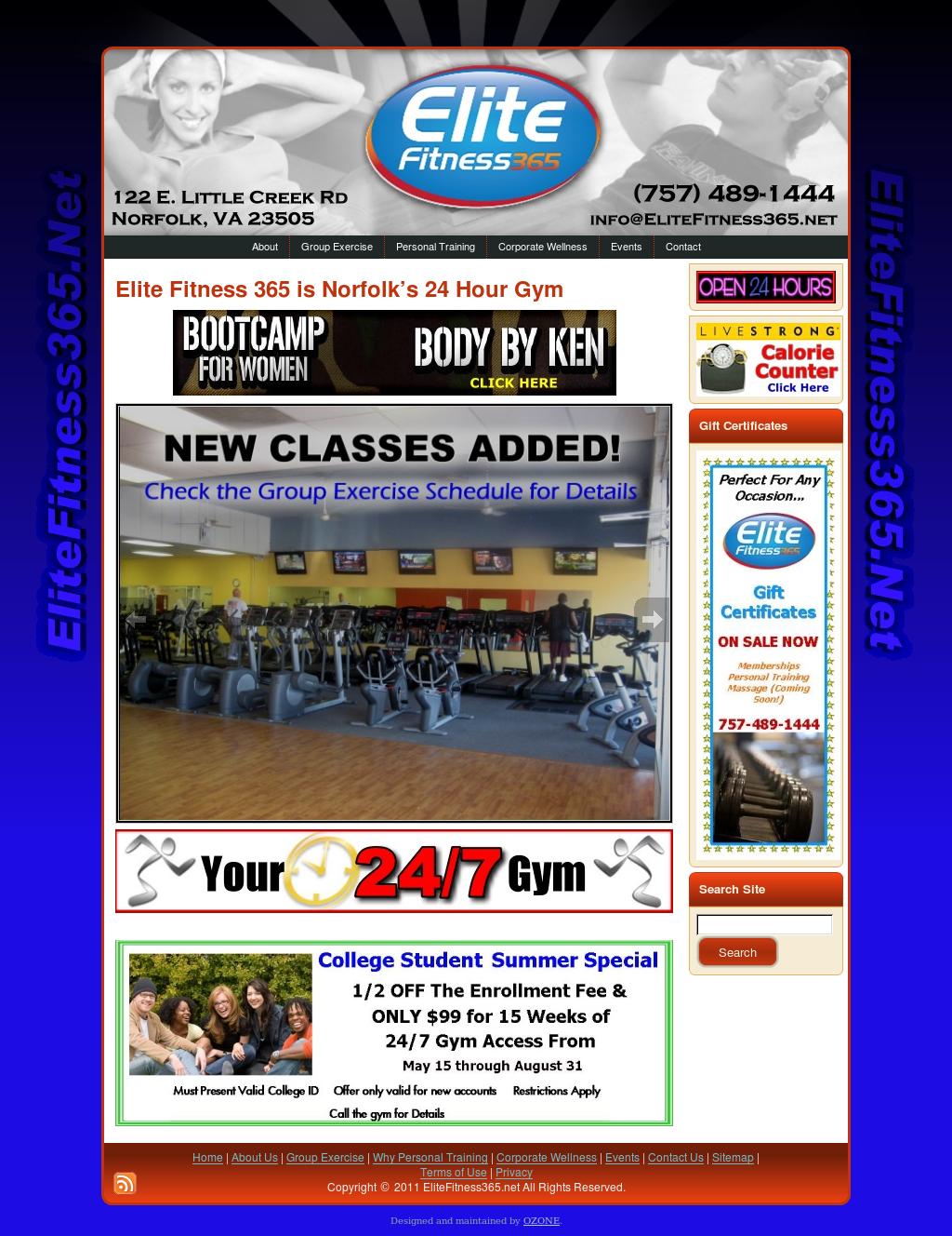 Web Design For Elite Fitness 24hr Health Club In Norfolk Va
