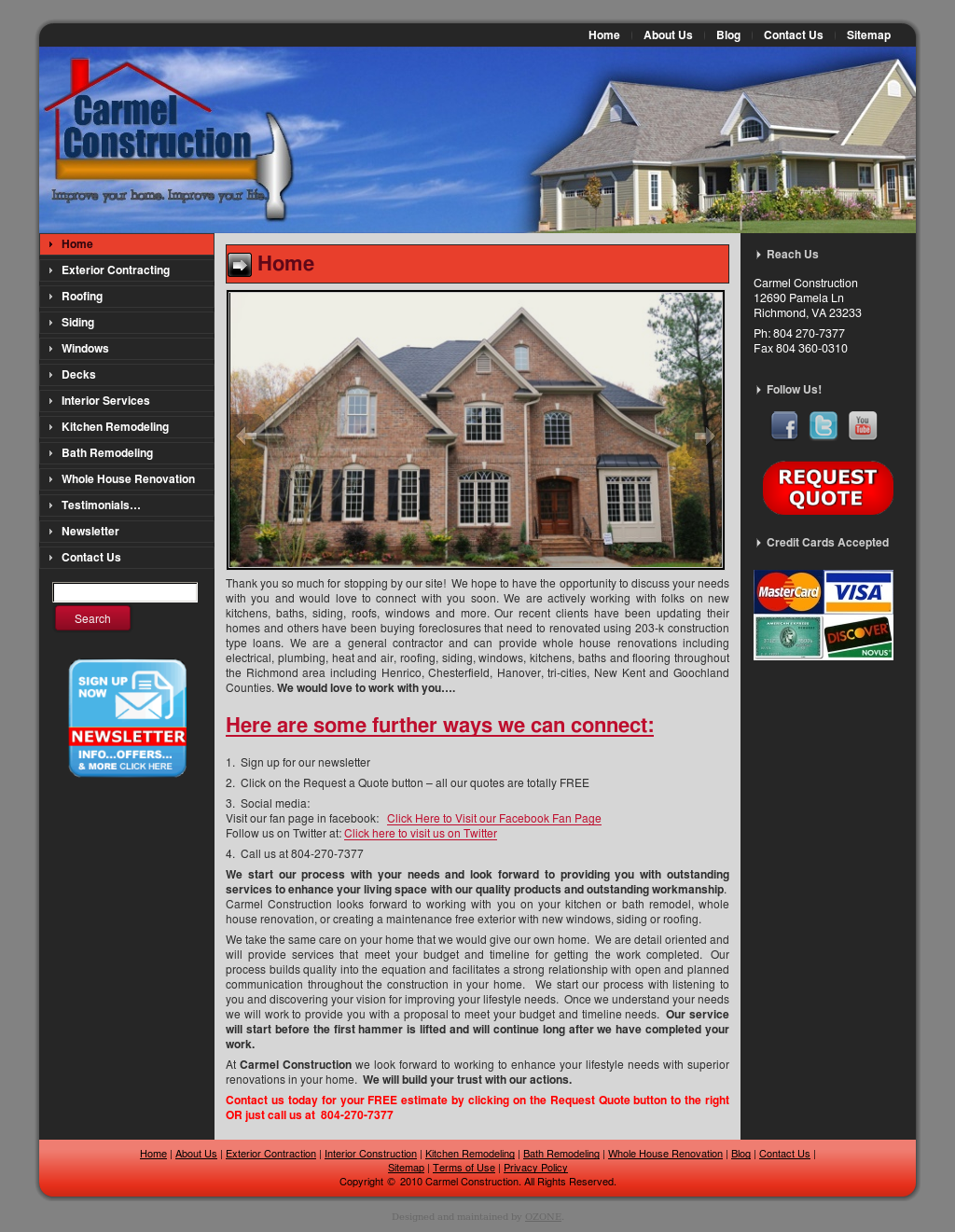 Richmond Home Remodeling Web Design By Ozone