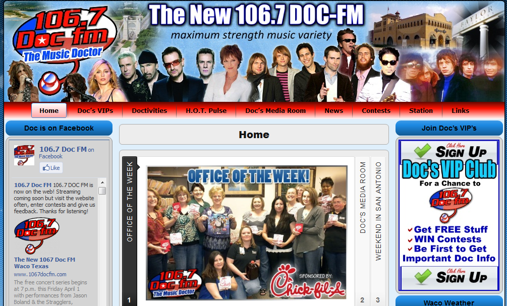 Radio Station Web Designers 1067 Doc Fm Radio Web Site