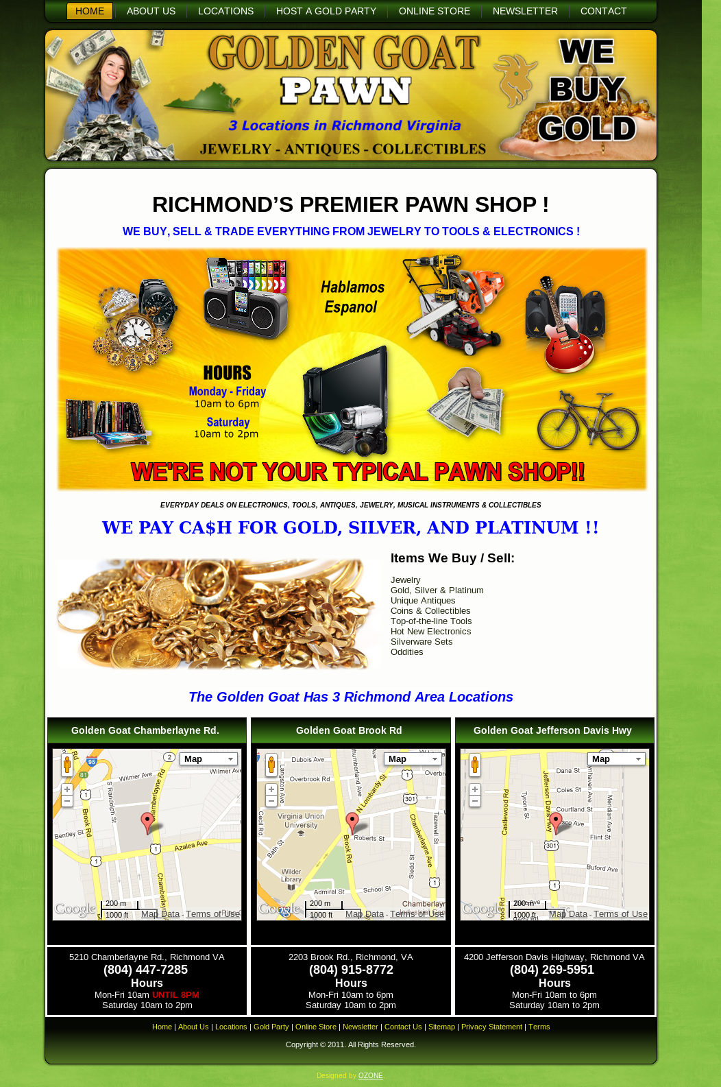 Golden Goat Pawn Shop Web Design Richmond Virginia
