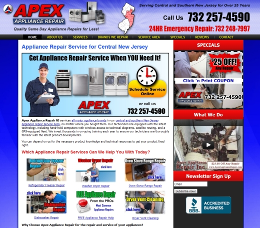 Web Design for Apex Appliance Repair New Jersey