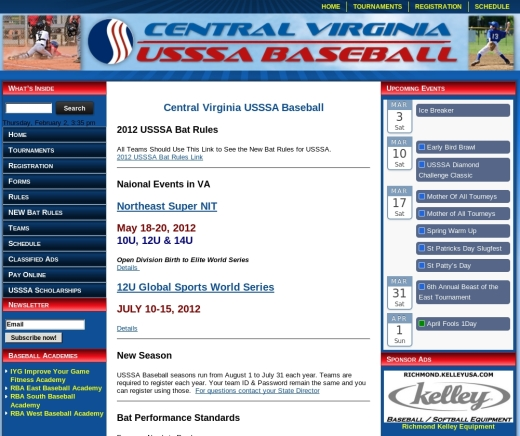 Central Virginia USSSA Baseball Web Site Design