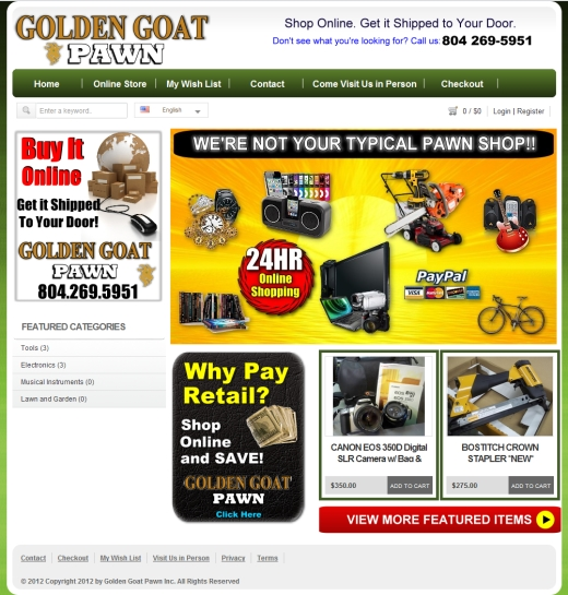 Golden Goat Pawn Shop Online Web Site Design Richmond VA