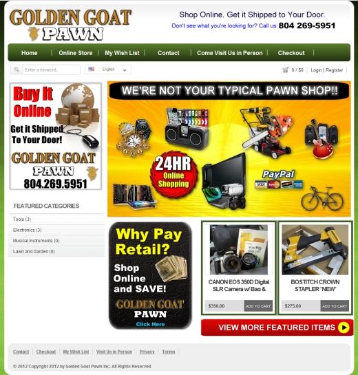 Golden Goat Pawn Shop Online Web Site Design Richmond VA