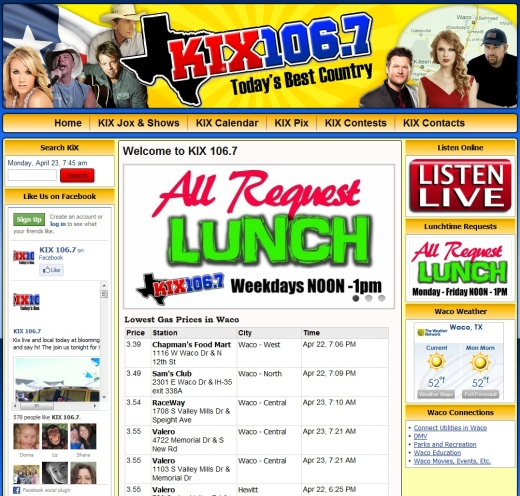 Radio Station Web Site Design Kix 106 7 Country Waco Tx