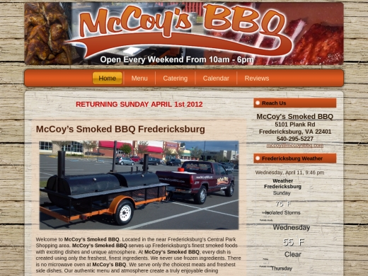 McCoy's BBQ in Fredericksburg Virginia Web Design