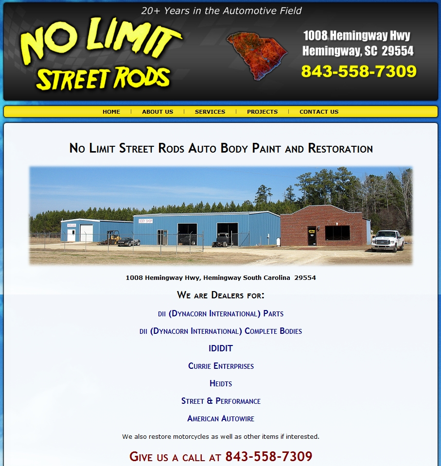 South Carolina Web Design - No Limit Street Rods