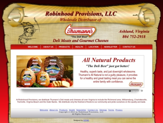 Robinhood Provisions Deli Meats and Gourmet Cheeses Web Design Virginia