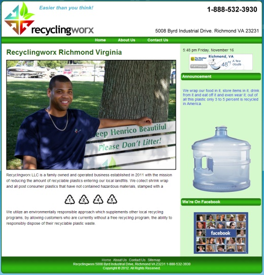 RecyclingWorx.com Richmond Virginia Web Design