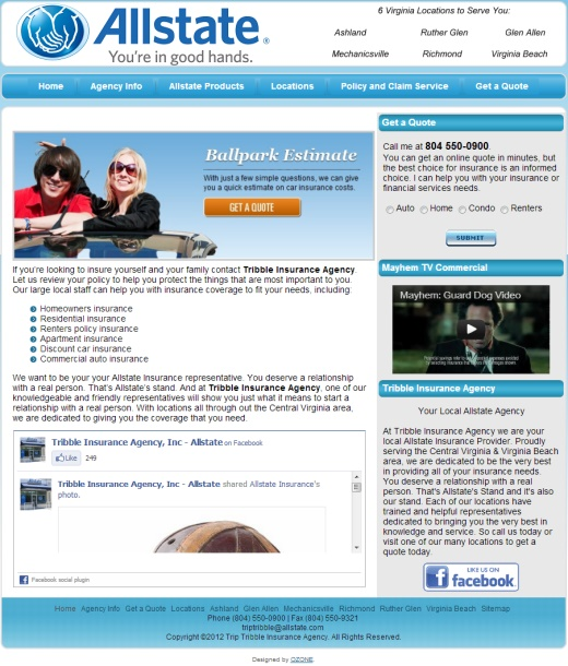 Allstate Insurance Agents Va Web Design 804 405 0459
