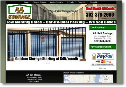 Aa Self Storage In Townsend Delaware Web Design With Ecommerce