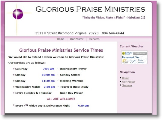 Glorious Praise Ministries Richmond Web Design