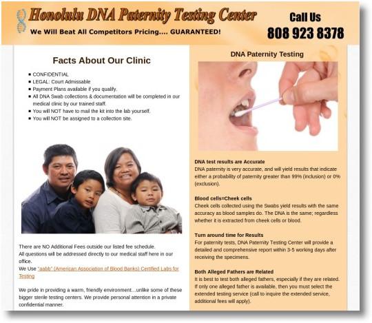 Honolulu DNA Paternity Testing Center Web Design