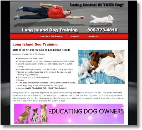 Long Island Dog Training New York Web Design