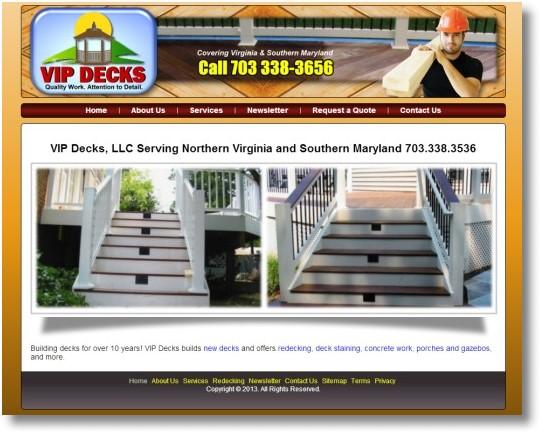 Vip Decks Home Improvement Web Design Northern Va