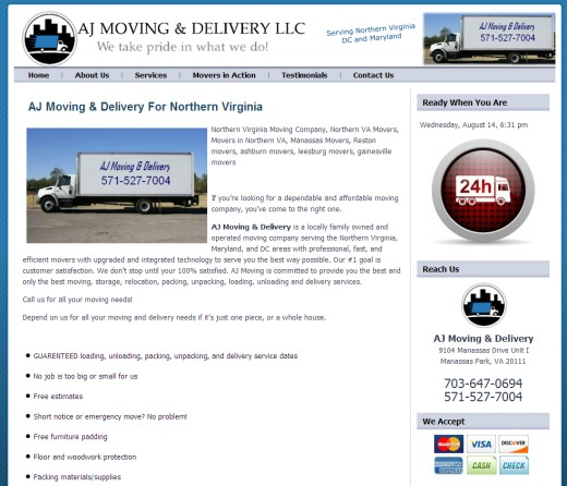 Moving Company Web Designs