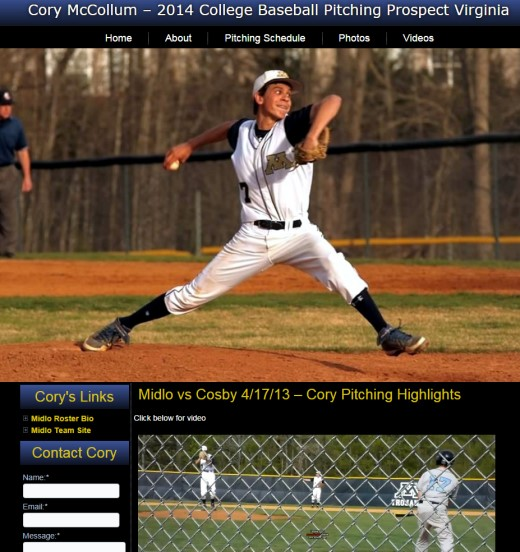 Baseball College Recruit Web Design